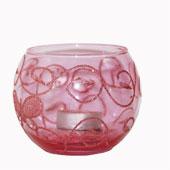 Hộp quà nến tealight - ly thủy tinh màu hồng,